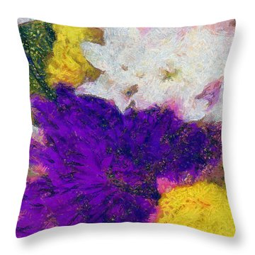 Xtreme Floral Eleven Purple And White Throw Pillow