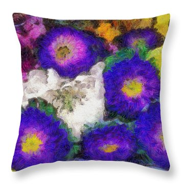 Xtreme Floral Fifteen Chillin' With The Purple Family Throw Pillow