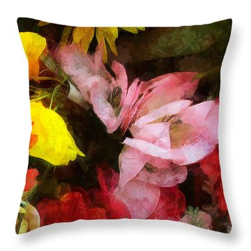 Xtreme Floral Nineteen Powerful In Pink Throw Pillow