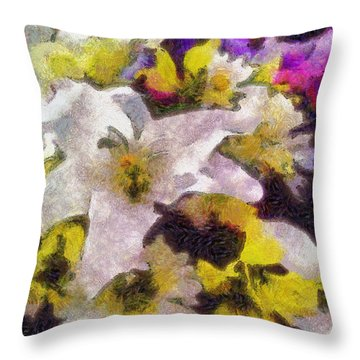 Xtreme Floral Six The White Star Throw Pillow by Spyder Webb