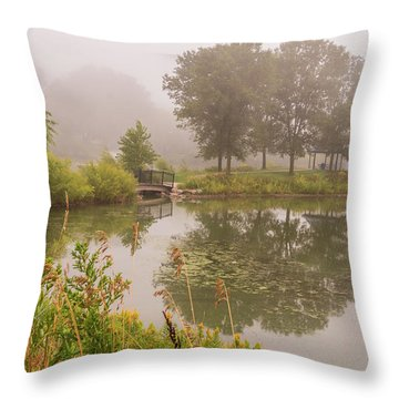 Throw Pillow featuring the photograph Misty Pond Bridge Reflection #5 by Patti Deters
