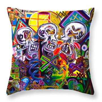Xxxkull The Xxxiamese Twins  Throw Pillow