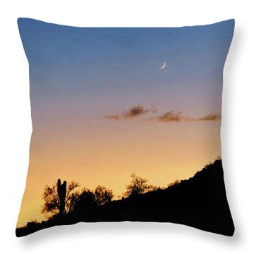 Y Cactus Sunset Moonrise Throw Pillow