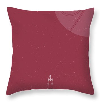 Y-wing Bomber Meets Death Star Throw Pillow