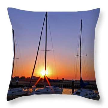 Throw Pillow featuring the photograph Yacht Club Sunrise by Judy Vincent