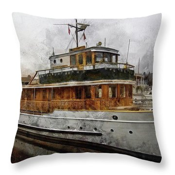 Yacht M V Discovery Throw Pillow