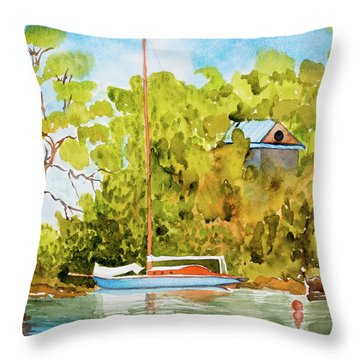 Yacht Weene' In Barnes Bay  Throw Pillow