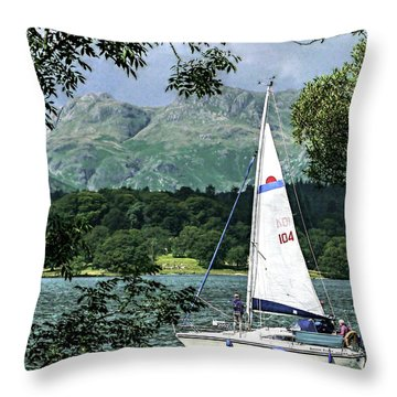 Yachting Lake Windermere Throw Pillow