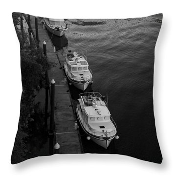 Yachts At Dock Throw Pillow