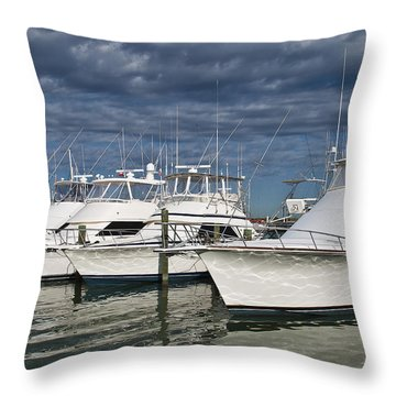 Yachts At The Dock Throw Pillow