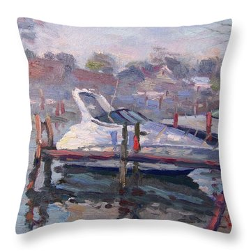 Yachts At The Harbor Throw Pillow