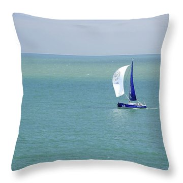 Yachts Sailing In Ventnor Bay Throw Pillow by Rod Johnson