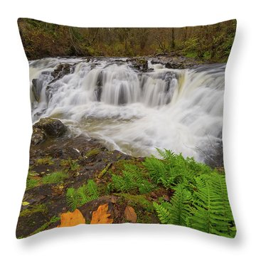 Yacolt Creek Falls In Fall Season Throw Pillow