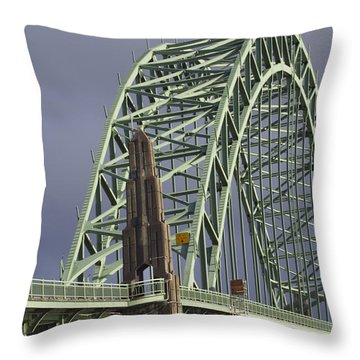 Yacquina Bridge Throw Pillow by Elvira Butler