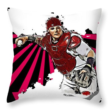 Throw Pillow featuring the digital art Yadier Molina by Charlie Roman