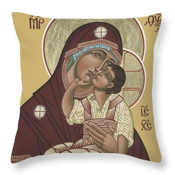 Throw Pillow featuring the painting Yakhrom Icon Of The Mother Of God 258 by William Hart McNichols