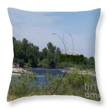 Yakima River And Mt Adams Throw Pillow