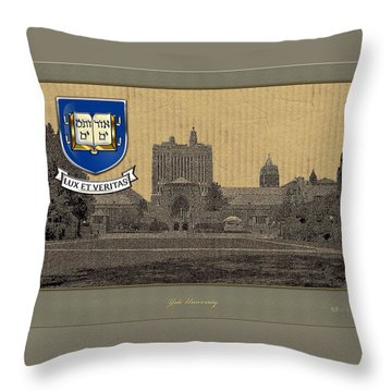 Yale University Building With Crest Throw Pillow by Serge Averbukh