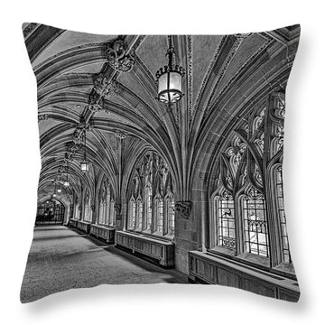 Throw Pillow featuring the photograph Yale University Cloister Hallway II Bw by Susan Candelario