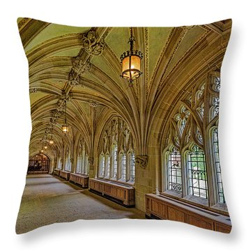 Throw Pillow featuring the photograph Yale University Cloister Hallway II  by Susan Candelario