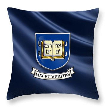 Yale University Coat Of Arms.  Throw Pillow by Serge Averbukh