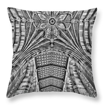 Throw Pillow featuring the photograph Yale University Sterling Library Bw by Susan Candelario