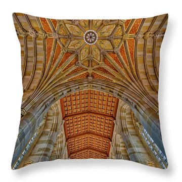 Throw Pillow featuring the photograph Yale University Sterling Library by Susan Candelario