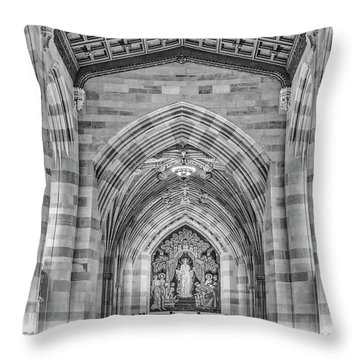 Throw Pillow featuring the photograph Yale University Sterling Memorial Library Bw  by Susan Candelario