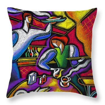 Throw Pillow featuring the painting  Yam Food And Drink by Leon Zernitsky