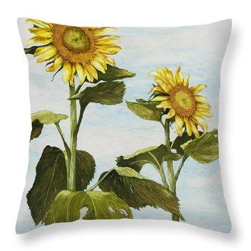 Yana's Sunflowers Throw Pillow by Mary Ann King