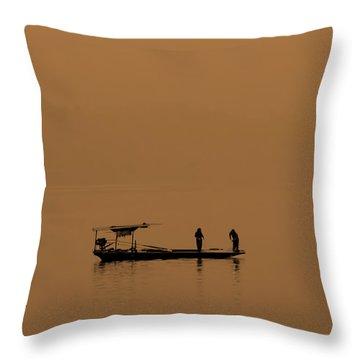 Yangtze Fishermen Throw Pillow