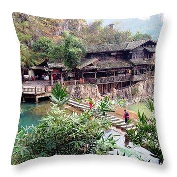 Yangtze Village Throw Pillow by Vicky Tarcau