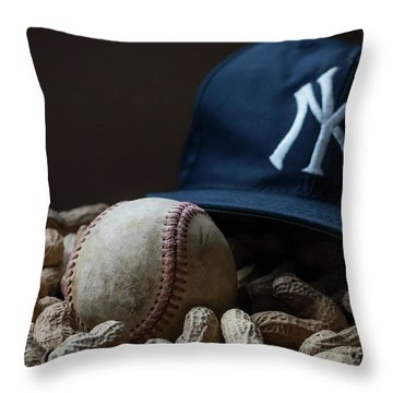 Yankee Cap Baseball And Peanuts Throw Pillow