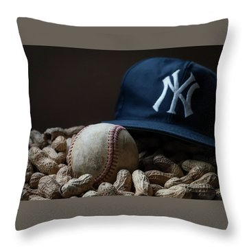 Throw Pillow featuring the photograph Yankee Cap Baseball And Peanuts by Terry DeLuco