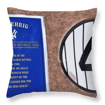 Yankee Legends Number 4 Throw Pillow by David Lee Thompson