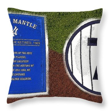 Yankee Legends Number 7 Throw Pillow by David Lee Thompson