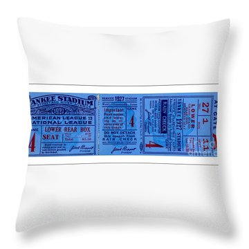 Throw Pillow featuring the drawing Yankee Stadium 1927 World Series Ticket Babe Ruth Game by Peter Gumaer Ogden