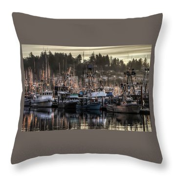 Throw Pillow featuring the photograph Yaquina Bay Boat Basin At Dawn by Thom Zehrfeld