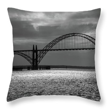 Yaquina Bay Bridge Black And White Throw Pillow