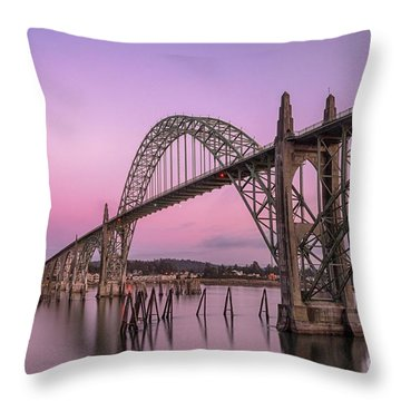 Yaquina Bay Bridge In Blue Light Throw Pillow