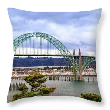 Yaquina Bay Bridge Panorama Throw Pillow