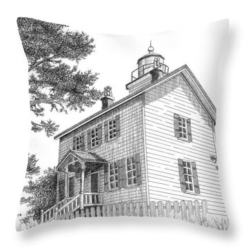 Yaquina Bay Lighthouse Throw Pillow by Lawrence Tripoli