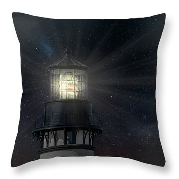Yaquina Head At Night Throw Pillow