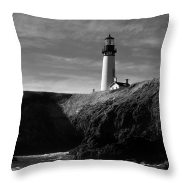 Yaquina Head Lighthouse Throw Pillow by Lara Ellis
