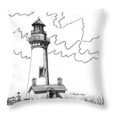 Yaquina Head Lighthouse Throw Pillow by Lawrence Tripoli