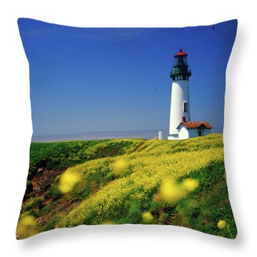 Yaquina Head Lighthouse- V2 Throw Pillow