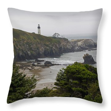 Yaquina Head Lighthouse View Throw Pillow