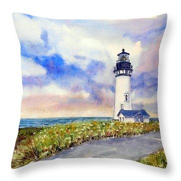Yaquina Head Lighthouse - Springtime Throw Pillow