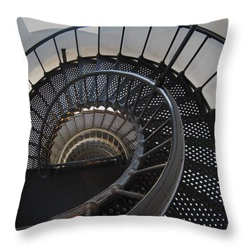 Yaquina Lighthouse Stairway Nautilus - Oregon State Coast Throw Pillow by Daniel Hagerman