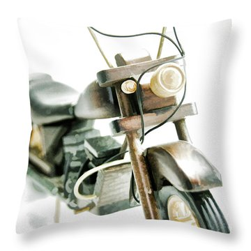 Yard Sale Wooden Toy Motorcycle Throw Pillow by Wilma Birdwell